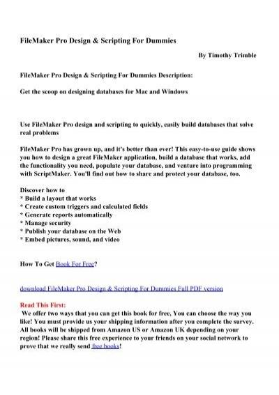Filemaker Pro Design Scripting For Dummies Pdf Ebooks Free