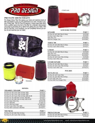 PRO DESIGN PD205 Pro Flow Foam Air Filter Kit