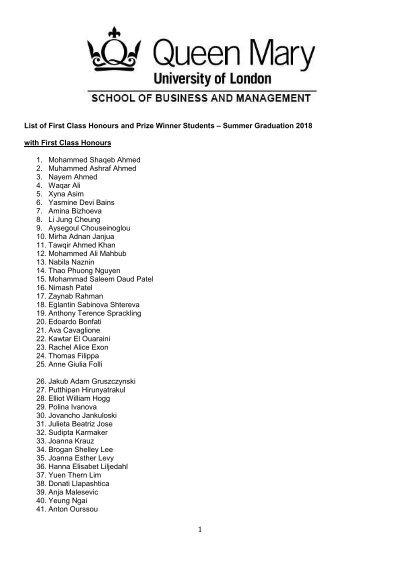 SBM UG2018_First Class Honours and Prize Winner Graduates 080818