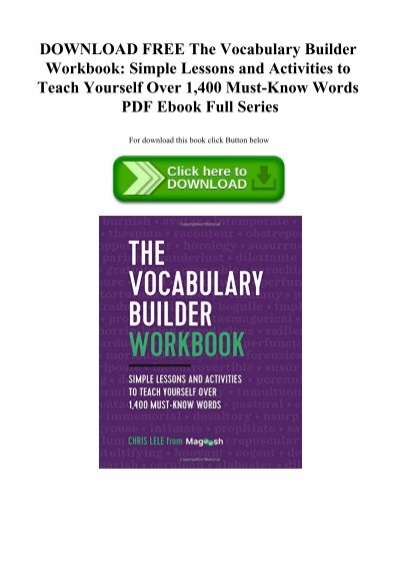 DOWNLOAD FREE The Vocabulary Builder Workbook Simple Lessons