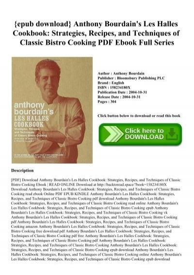 Download -pdf-] anthony bourdain's les halles cookbook strategies.