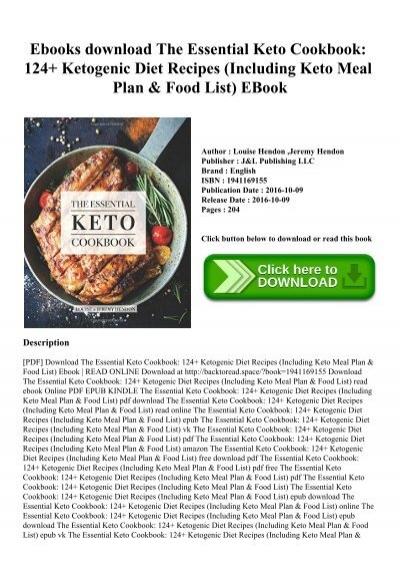 Ebooks Download The Essential Keto Cookbook 124 Ketogenic Diet Recipes Including Keto Meal Plan Food List Ebook