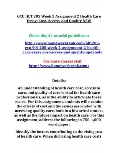 gcu hlt  week  assignment  health care essay