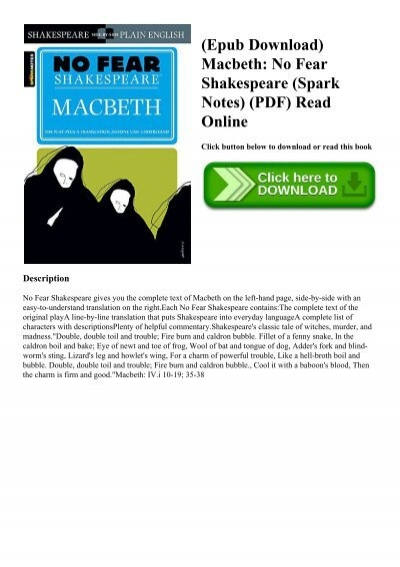 7b1e46bef4a9 (Epub Download) Macbeth No Fear Shakespeare (Spark Notes) (PDF) Read Online