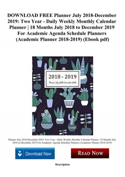 DOWNLOAD FREE Planner July 2018 December 2019 Two Year Daily