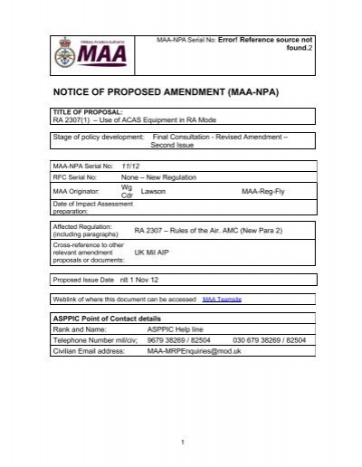 Notice Of Proposed Amendment Maa Npa Military Aviation Authority