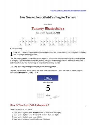 free numerology reading based on date of birth 22 november