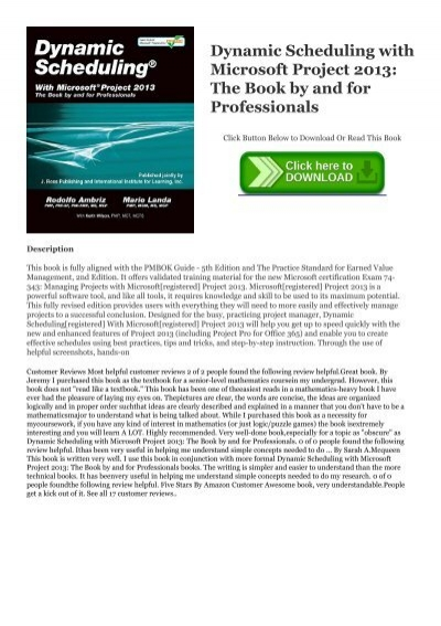 Pdf Read Free Dynamic Scheduling With Microsoft Project 2013 The Book By And For Professionals Pdf Ebook Epub