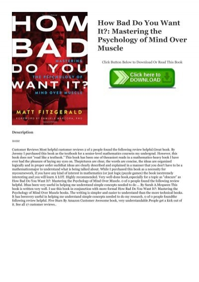 How Bad Do You Want It? Mastering the Psychology of Mind over Muscle