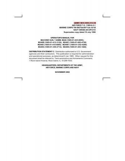 M240 - Machine Gun Manual - TM 9-1005-313-10