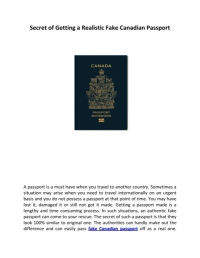 A Secret Of Getting A Realistic Fake Canadian Passport