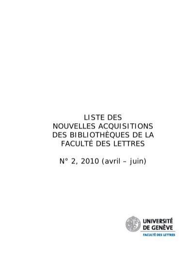 Liste Des Nouvelles Acquisitions Des Bibliothèques De La