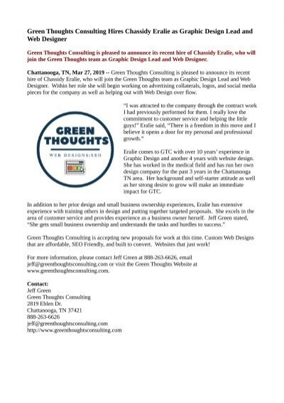 Green Thoughts Consulting Hires Chassidy Eralie As Graphic Design Lead And Web Designer