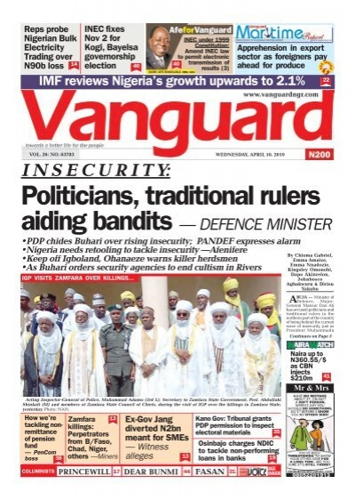 10042019 - Politicians, traditional rulers aiding bandits