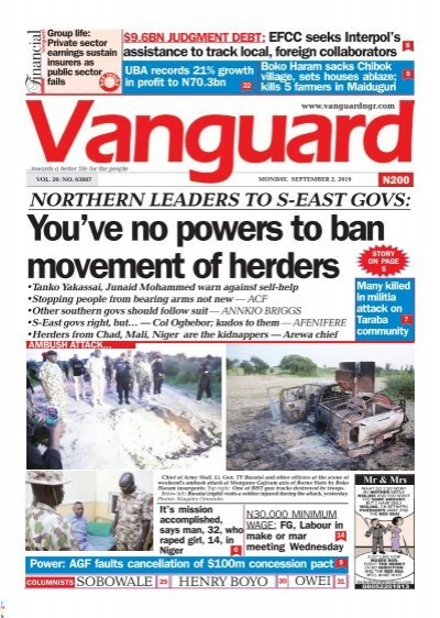 02092019 - NORTHERN LEADERS TO S-EAST GOVS: You've no powers