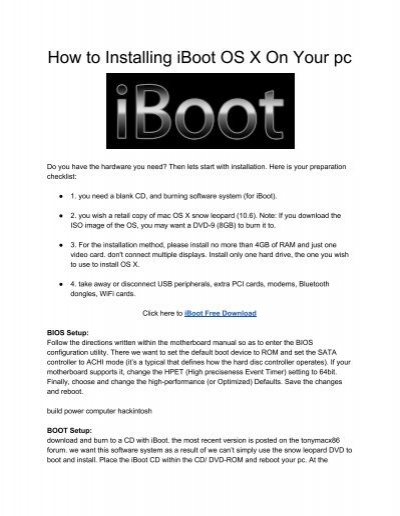 Iboot For Mac Os X