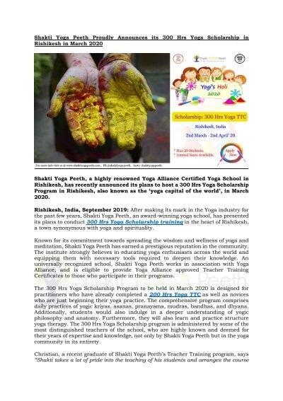 Shakti Yoga Peeth Organizing Holi Special 300 Hour Yoga Teacher Training Scholarship In Rishikesh