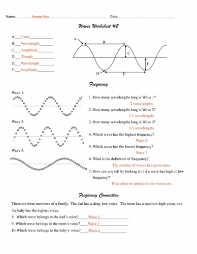 Waves Worksheet 2 Answers