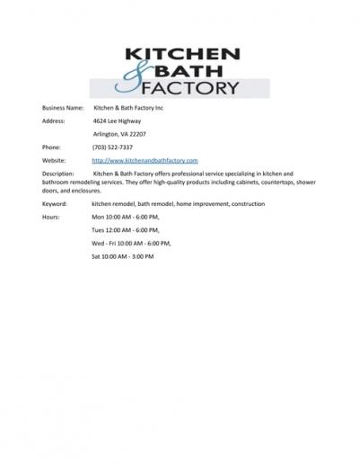 Kitchen Amp Amp Bath Factory Inc
