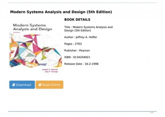 Pdf Download Modern Systems Analysis And Design 5th Edition Full Pages