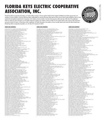 Florida Keys Electric Cooperative Association Inc