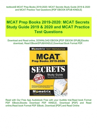 MCAT Secrets Study Guide 2019 /& 2020 and MCAT Practice Test Questions MCAT Prep Books 2019-2020