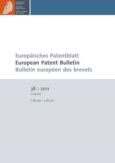Bulletin 201138 European Patent Office