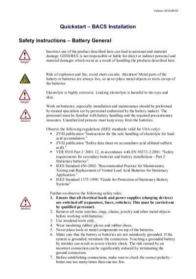 Quickstart – BACS Installation Safety instructions