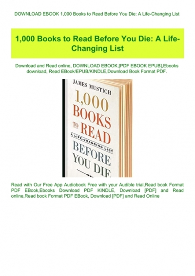 Download Ebook 1 000 Books To Read Before You Die A Life Changing List Read Pdf Ebook