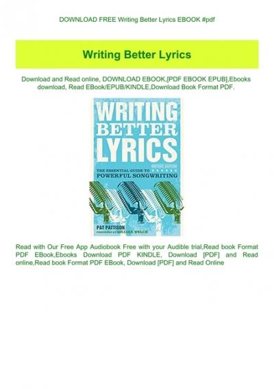 writing better lyrics pdf free download