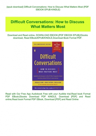 Epub Download Difficult Conversations How To Discuss What Matters Most Pdf Ebook Epub Kindle