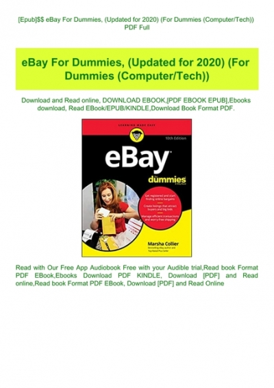 Epub Ebay For Dummies Updated For 2020 For Dummies Computertech Pdf Full