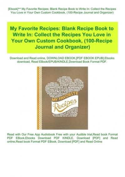 My Favorite Recipes Blank Recipe Book