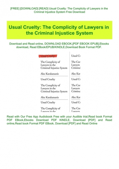 A Criminal Injustice PDF Free Download