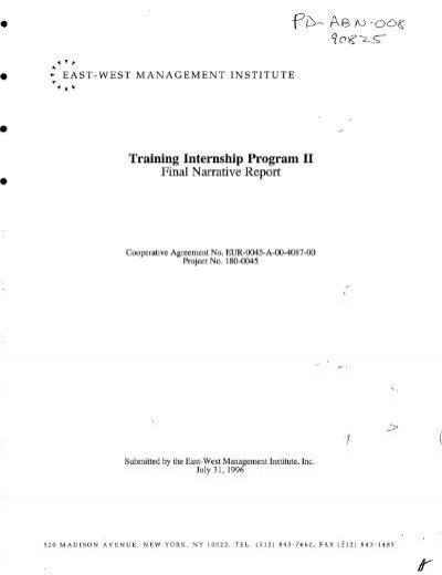 Training Internship Program I1 Final Narrative Report