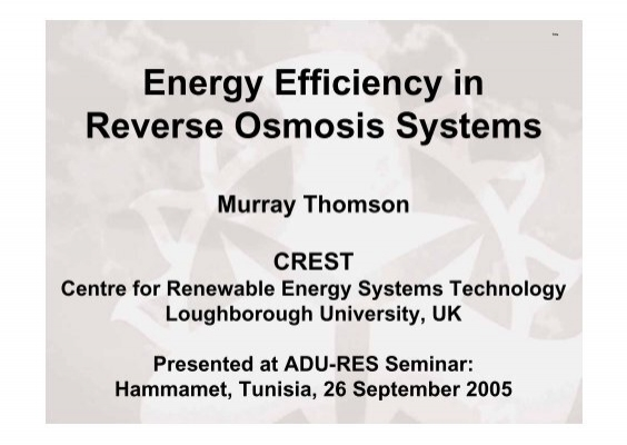 Energy Efficiency In Reverse Osmosis Systems Murray