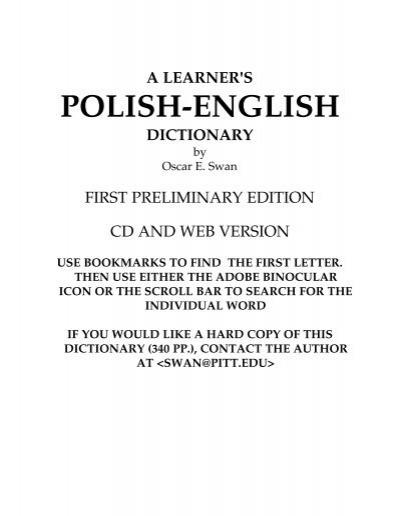 A Learner's Polish-English Dictionary - endlezz com