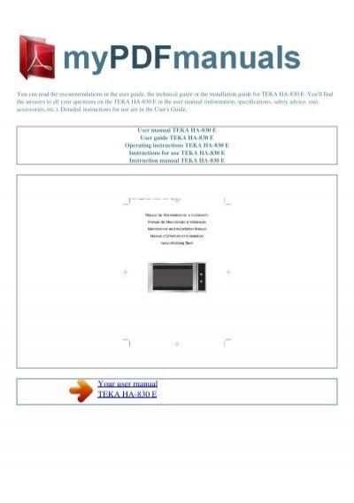teka ha 850 manual pdf
