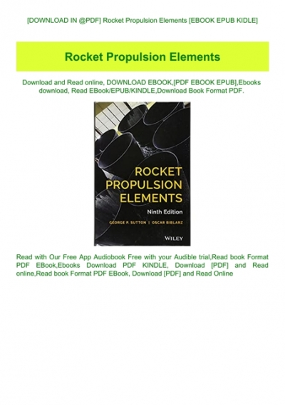 Download In Pdf Rocket Propulsion Elements Ebook Epub Kidle