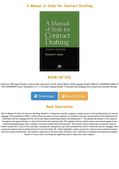 a manual of style for contract drafting free download