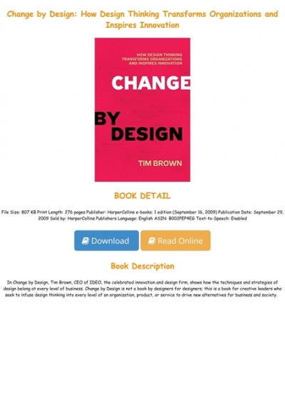 Ebook Change By Design How Design Thinking Transforms Organizations And Inspires Innovation Full Audiobook