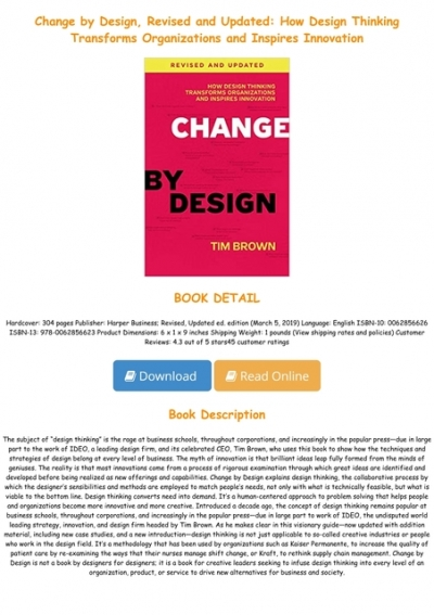 Ebook Change By Design Revised And Updated How Design Thinking Transforms Organizations And Inspires Innovation Full Books