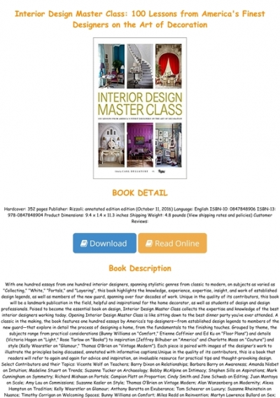 Pdf Interior Design Master Class 100 Lessons From America S Finest Designers On The Art Of Decoration Full Online