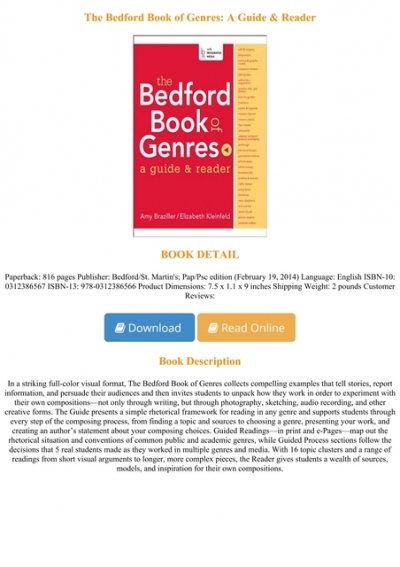 Free Download The Bedford Book Of Genres A Guide Reader Full Pages