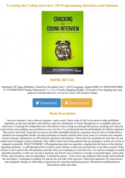 Pdf Online Cracking The Coding Interview 189 Programming Questions And Solutions Full Acces