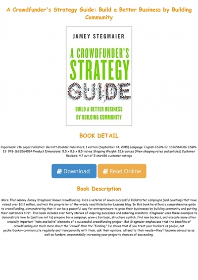 P D F Download A Crowdfunder S Strategy Guide Build A Better Business By Building Community For Any Device