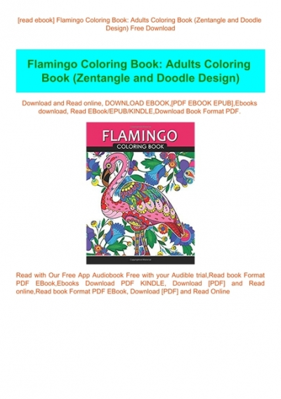 Read Ebook] Flamingo Coloring Book Adults Coloring Book (Zentangle And  Doodle Design) Free Download
