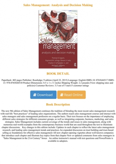E Book Download Sales Management Analysis And Decision Making Full Online
