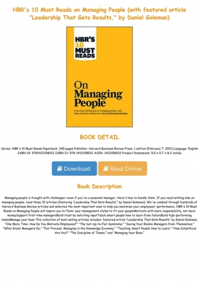P D F Download Hbr S 10 Must Reads On Managing People With Featured Article Leadership That Gets Results By Daniel Goleman Full Pages