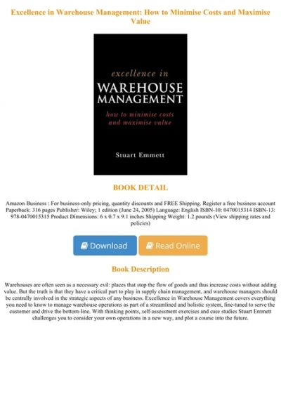 Download E B O O K Excellence In Warehouse Management How To Minimise Costs And Maximise Value Full Online